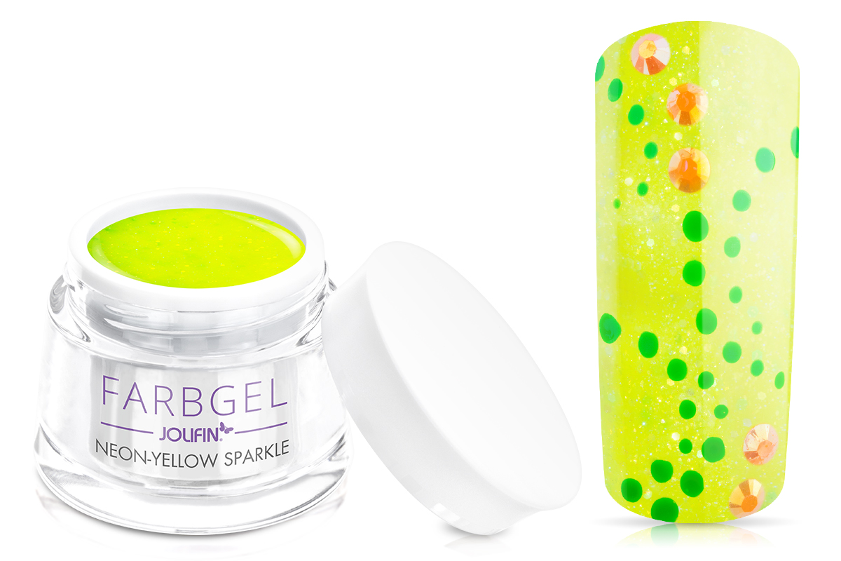 Jolifin Farbgel neon-yellow sparkle 5ml