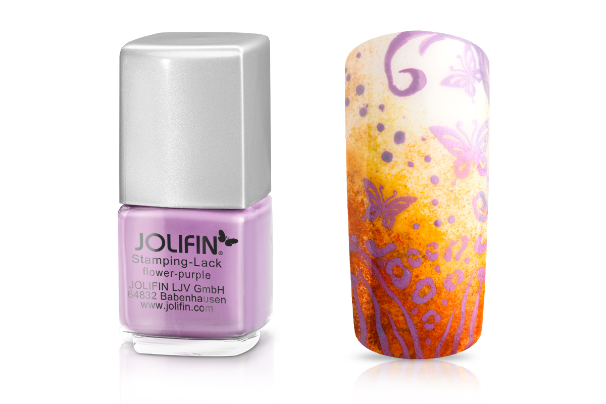 Jolifin Stamping-Lack - flower purple 12ml