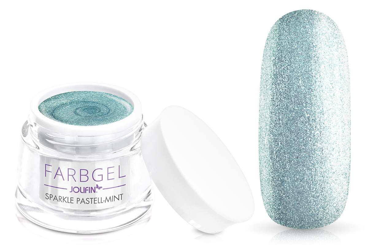 Jolifin Farbgel sparkle pastell-mint 5ml