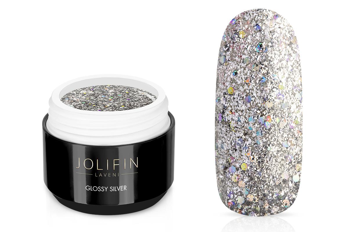 Jolifin LAVENI Farbgel - glossy silver 5ml - Pretty Nail Shop 24