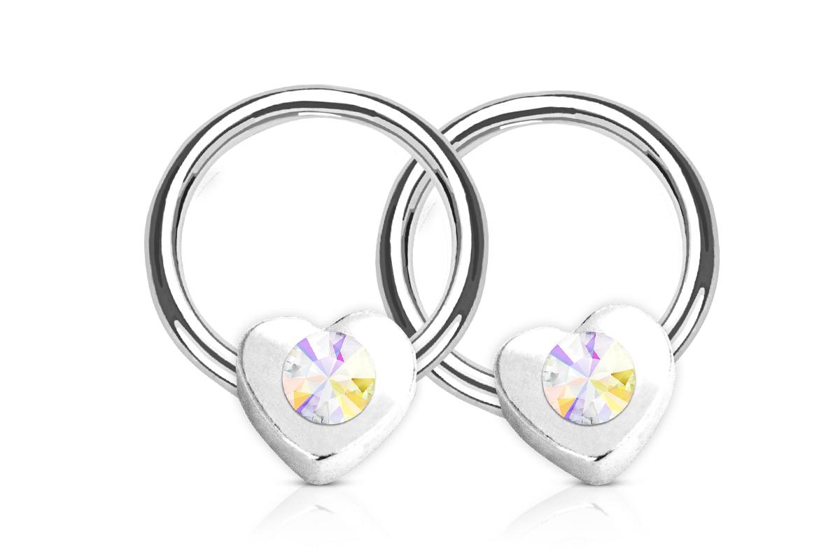 Jolifin Nagel-Piercing Herz mit Stein - iriserend