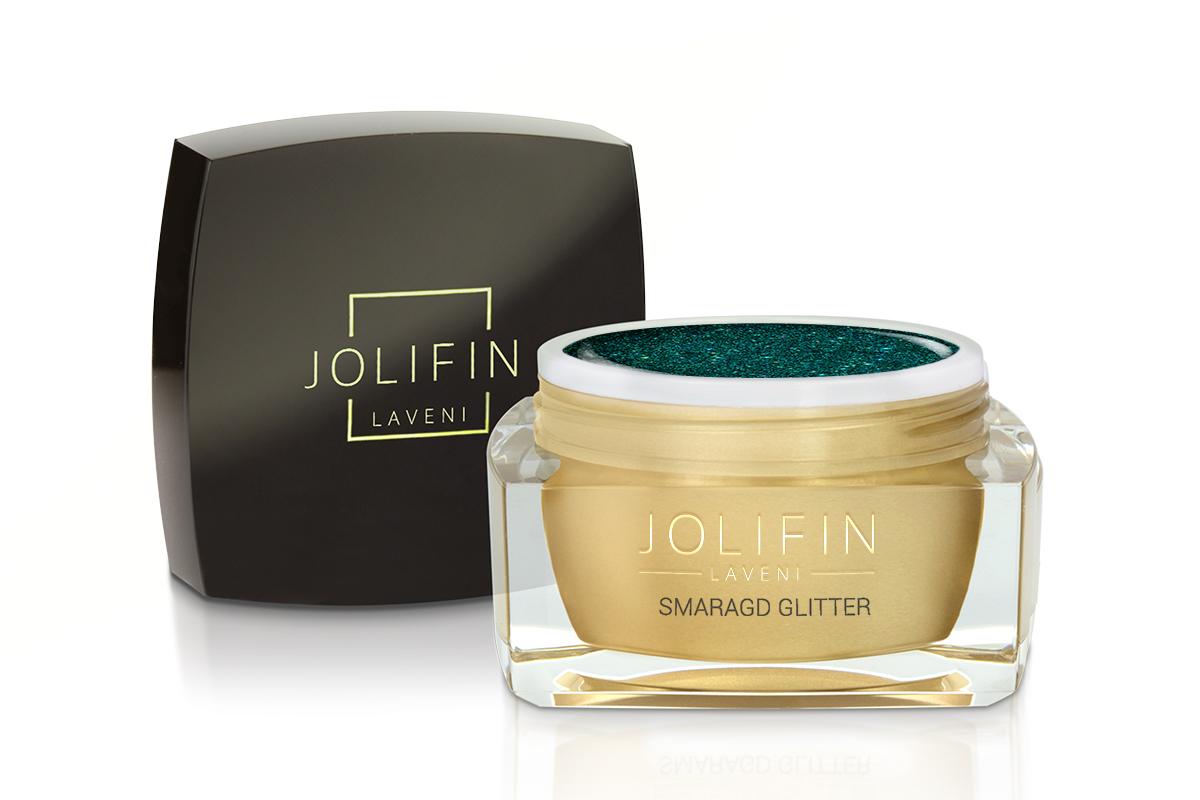 Jolifin LAVENI Farbgel - smaragd Glitter 5ml