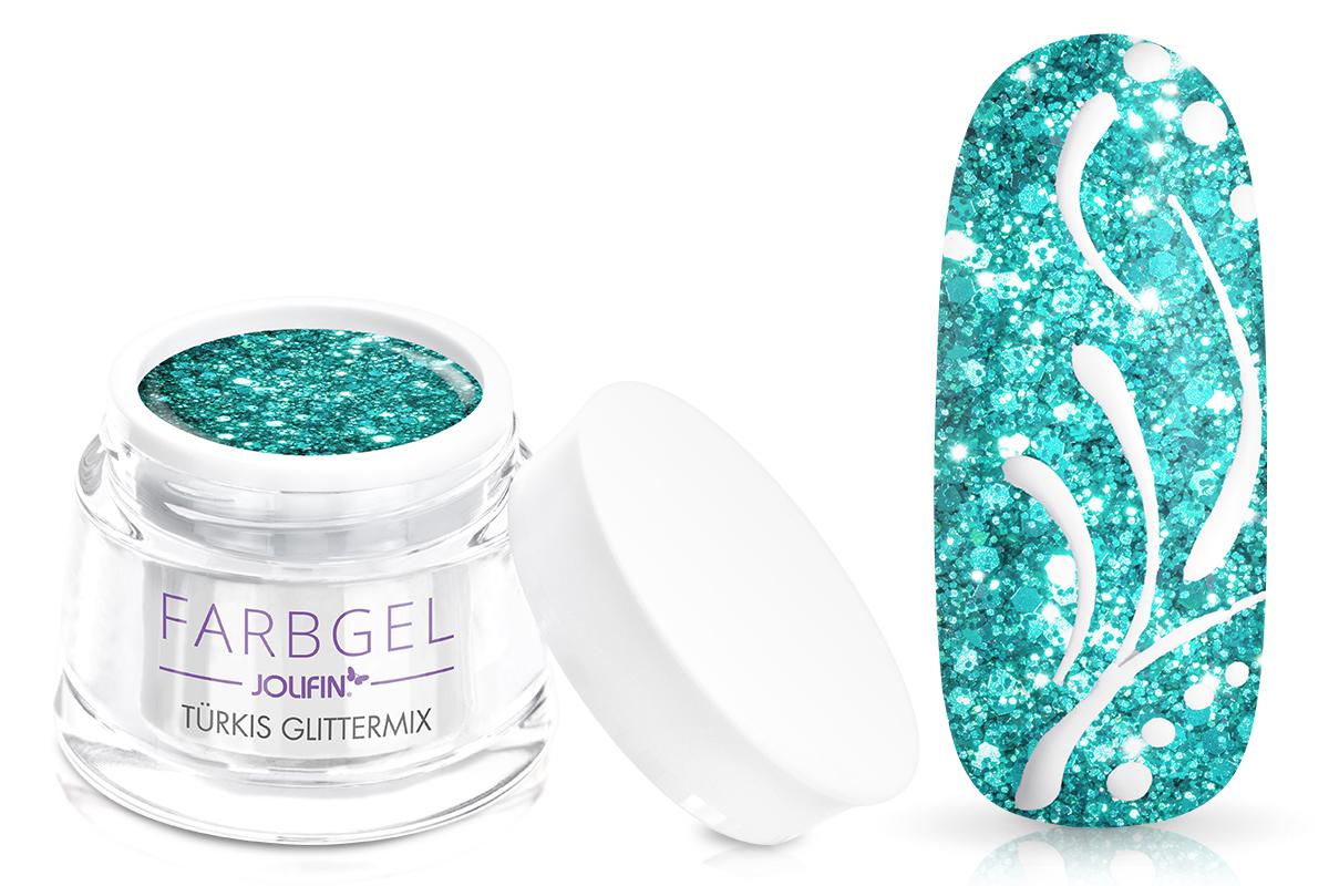 Jolifin Farbgel türkis Glittermix 5ml