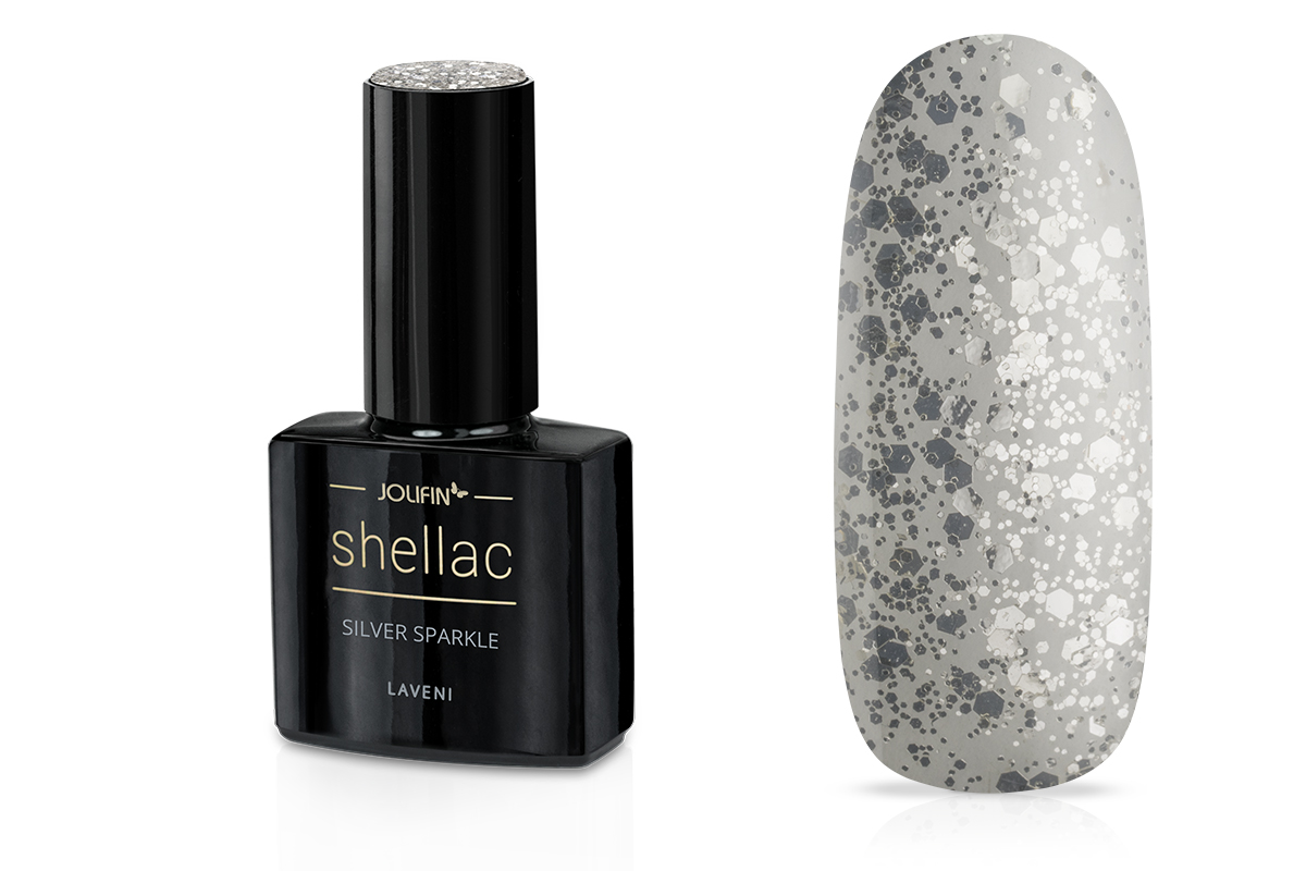 Jolifin LAVENI Shellac - silver sparkle 12ml