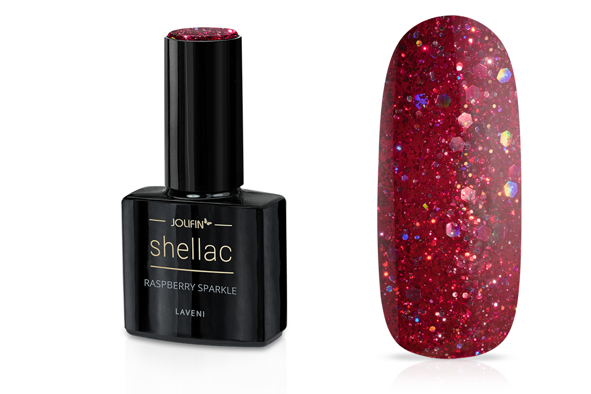 Jolifin LAVENI Shellac - raspberry sparkle 12ml