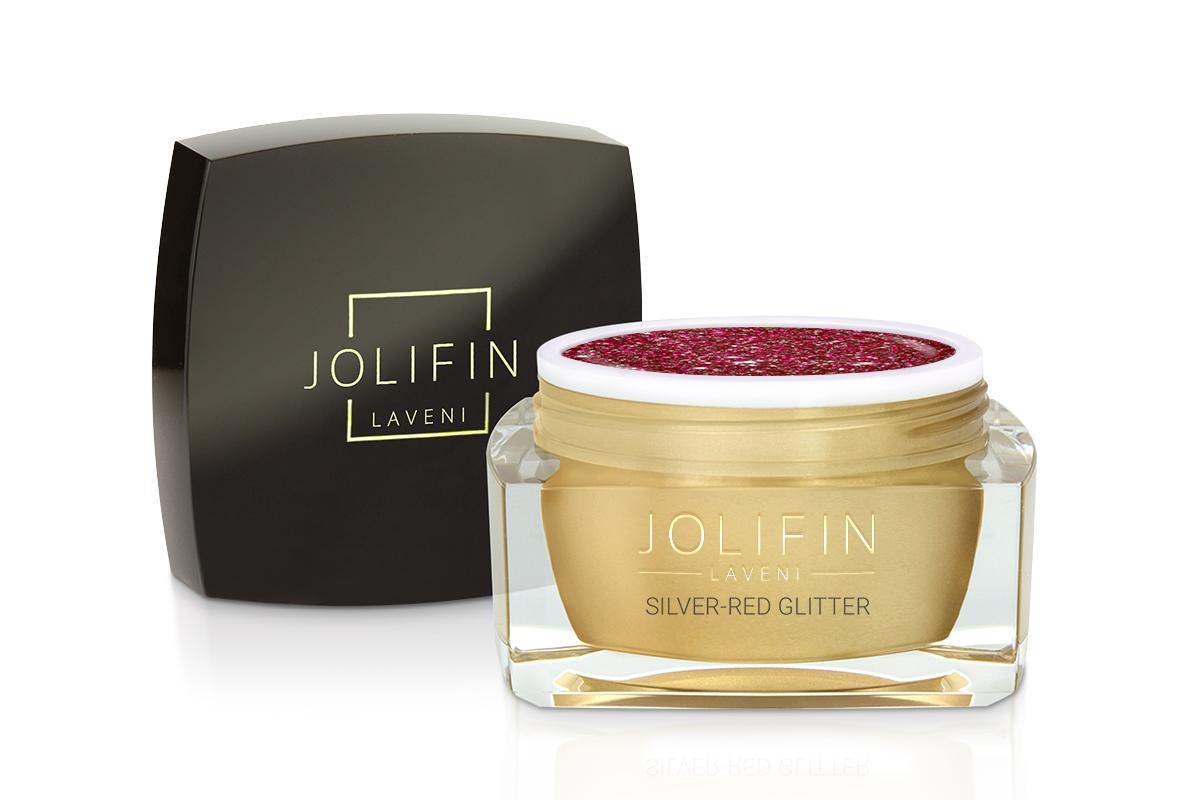 Jolifin LAVENI Farbgel - silver-red Glitter 5ml