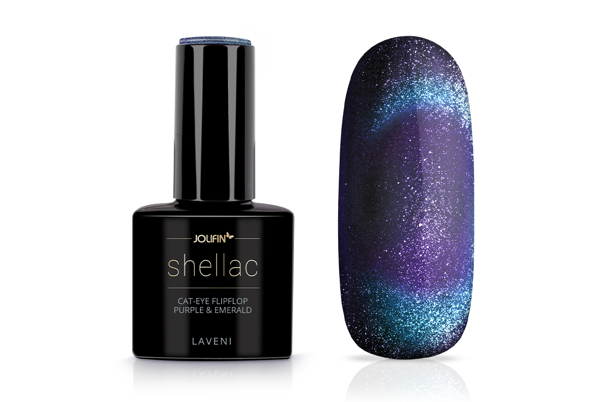 Jolifin LAVENI Shellac - Cat-Eye FlipFlop purple & emerald 12ml