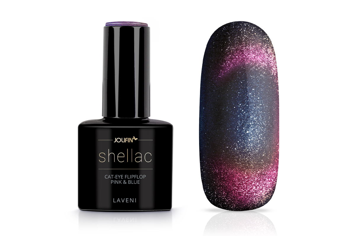 Jolifin LAVENI Shellac - Cat-Eye FlipFlop pink & blue 12ml