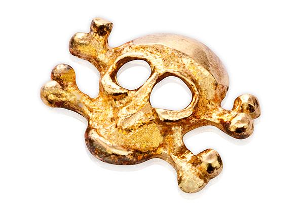 Jolifin Inlay großer Totenkopf gold