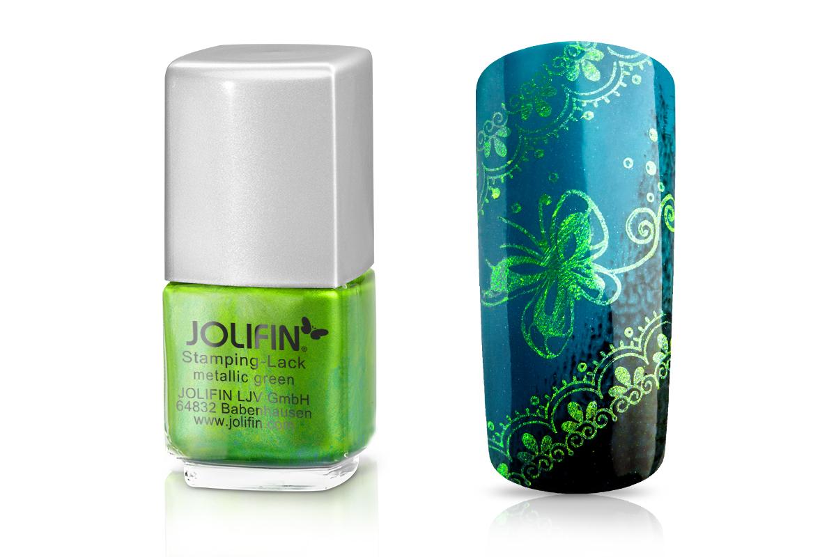 Jolifin Stamping-Lack - metallic green 12ml
