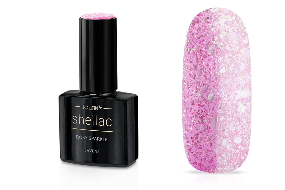 Jolifin LAVENI Shellac - rosy sparkle 12ml
