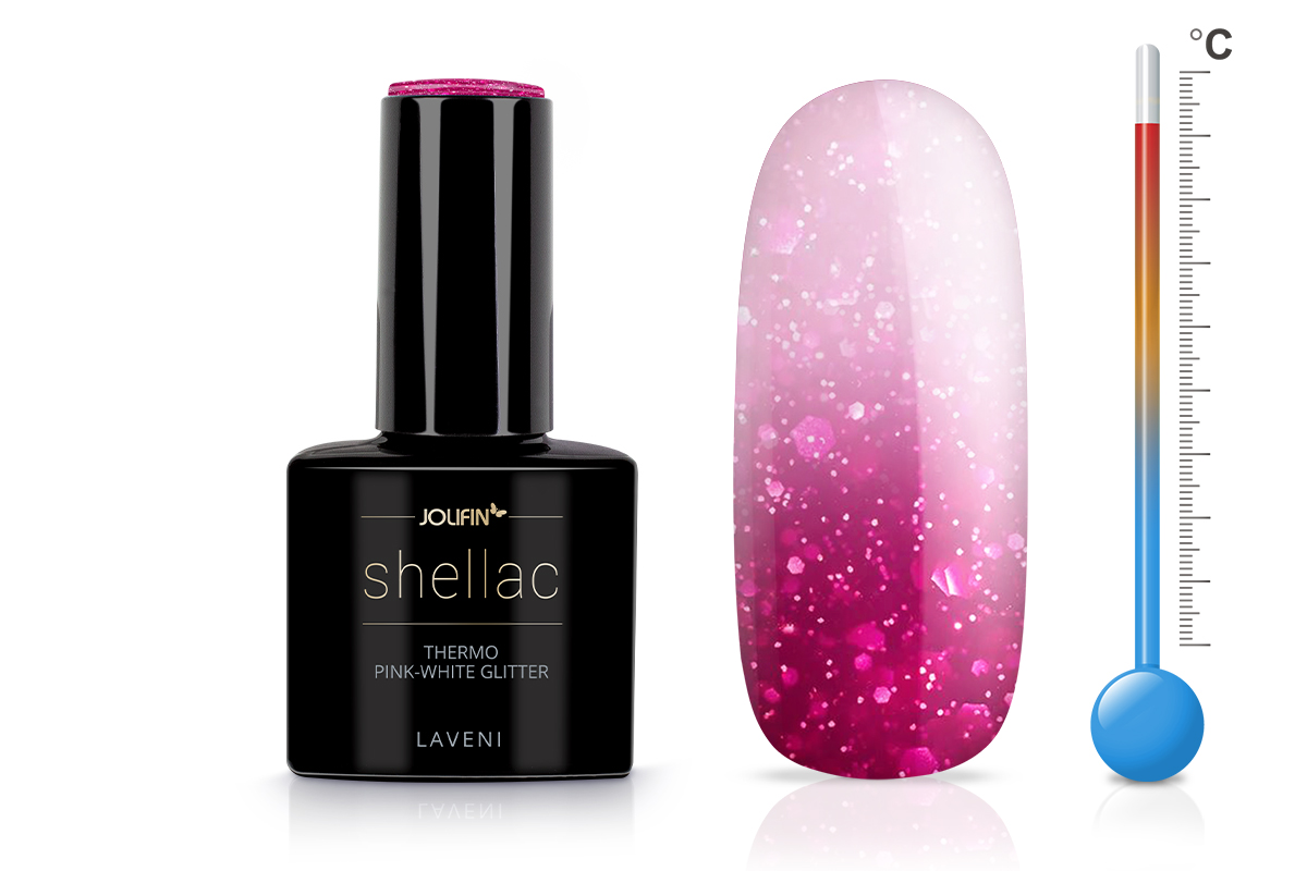 Jolifin LAVENI Shellac - Thermo pink-white Glitter 12ml