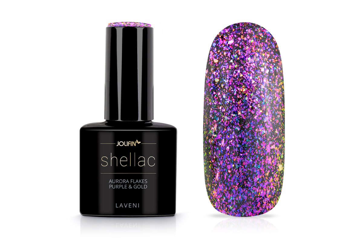 Jolifin LAVENI Shellac - Aurora Flakes purple & gold 12ml