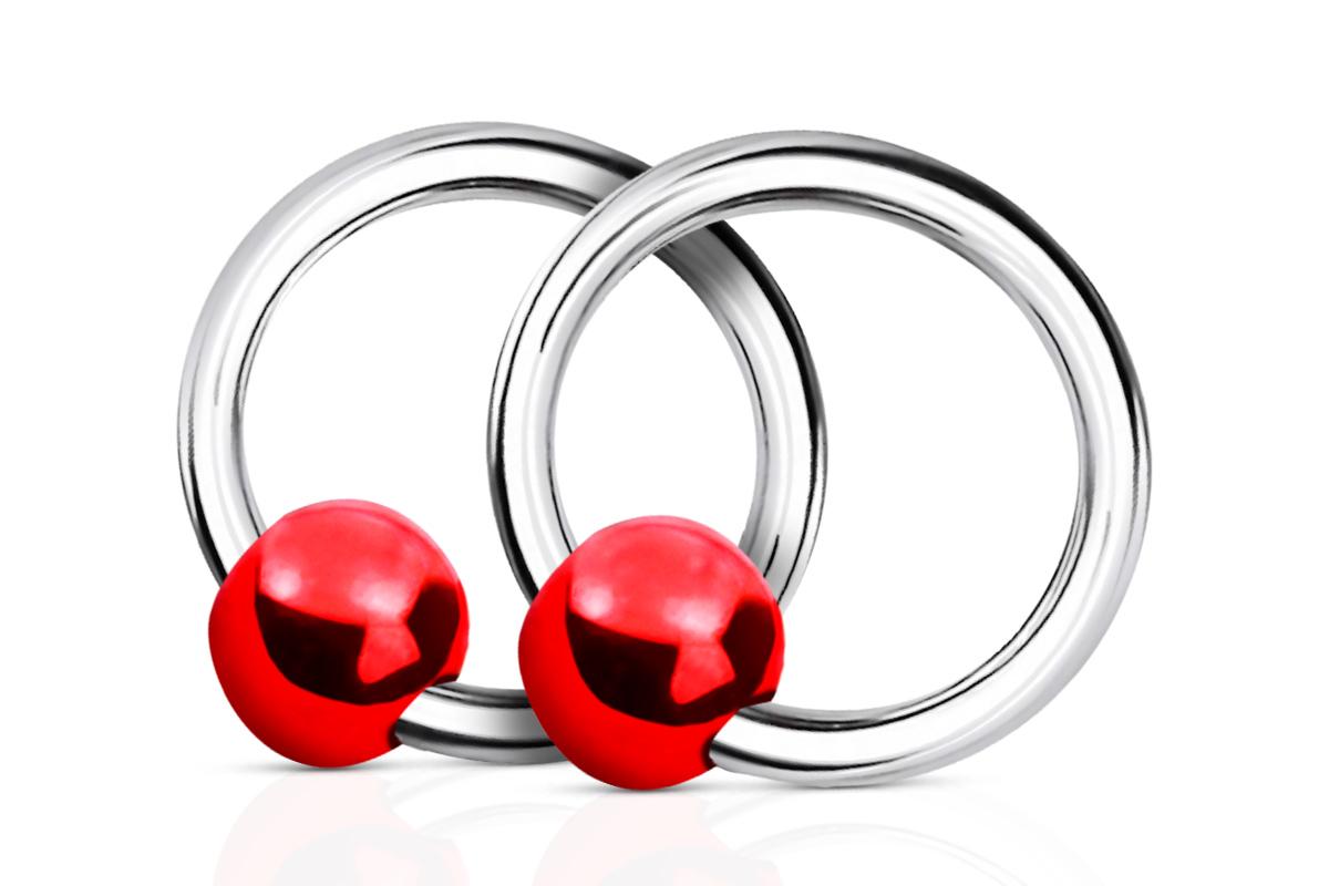 Jolifin Nagel-Piercing 925-Silber - Kugel Rot - Pretty Nail Shop 24