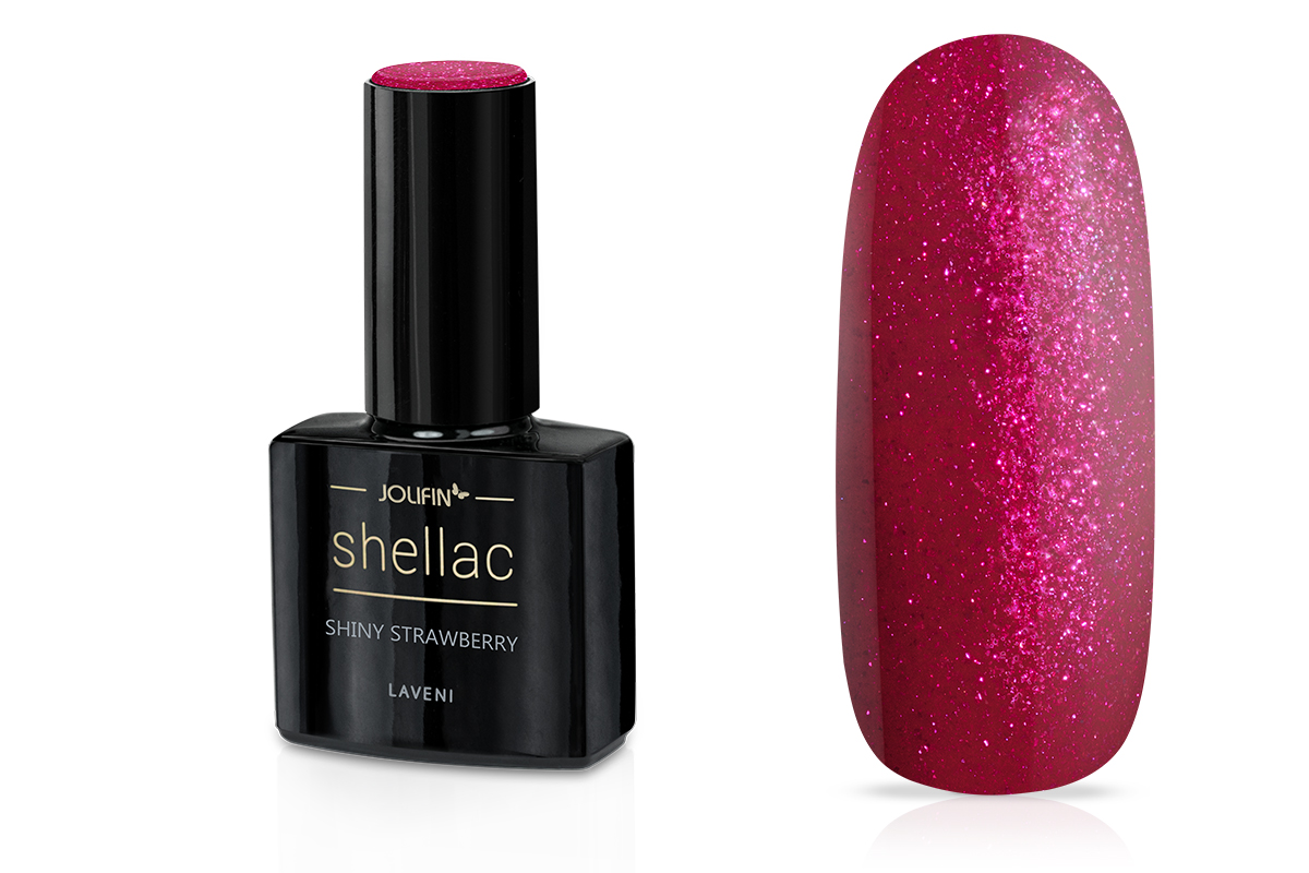 Jolifin LAVENI Shellac - shiny strawberry 12ml