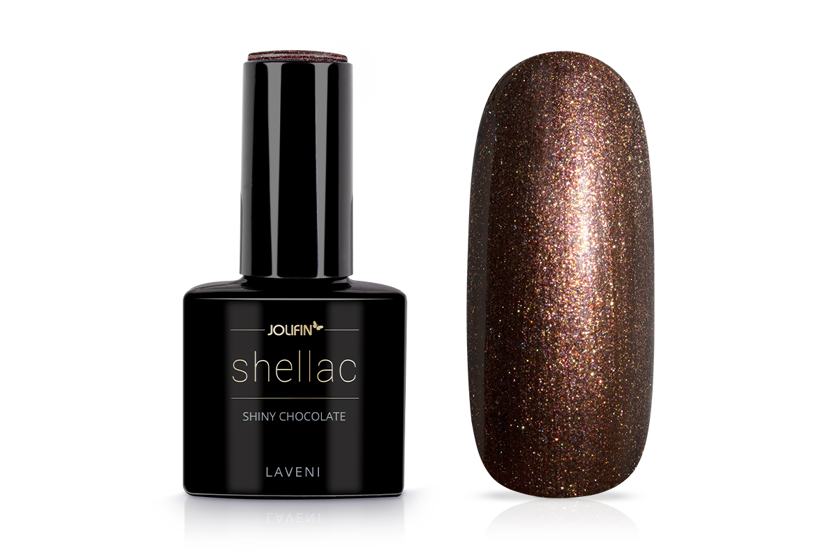 Jolifin LAVENI Shellac - shiny chocolate 12ml