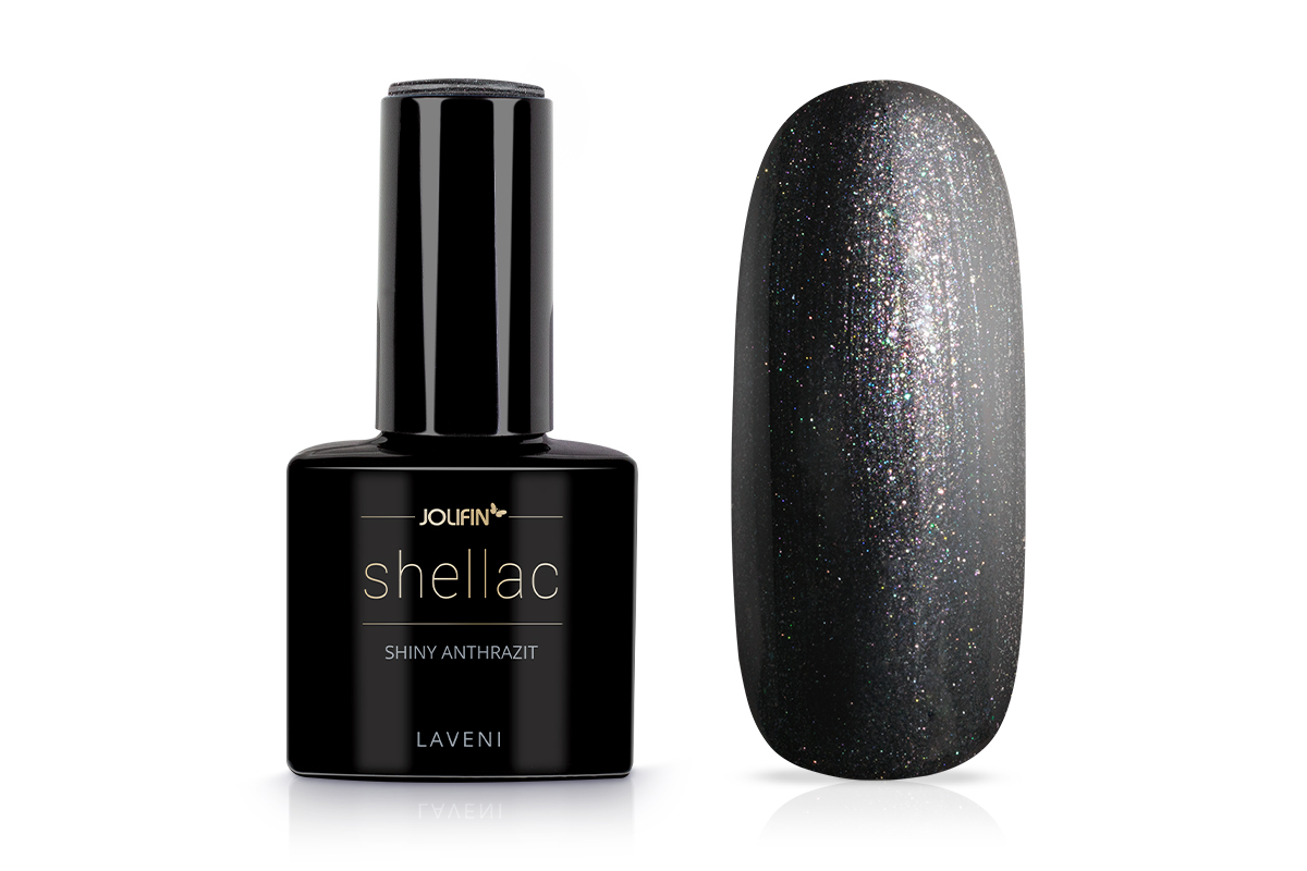 Jolifin LAVENI Shellac - shiny anthrazit 12ml