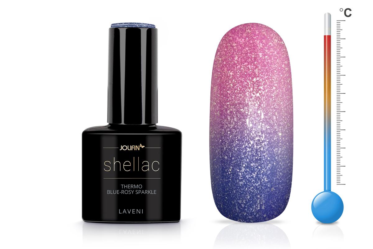 Jolifin LAVENI Shellac - Thermo blue-rosy sparkle 12ml