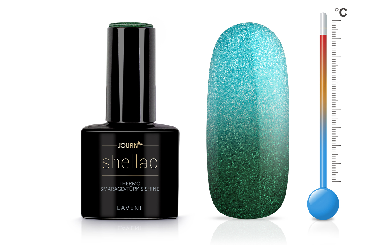Jolifin LAVENI Shellac - Thermo smaragd-türkis shine 12ml