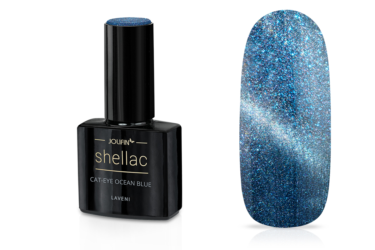 Jolifin LAVENI Shellac - Cat-Eye ocean blue 12ml
