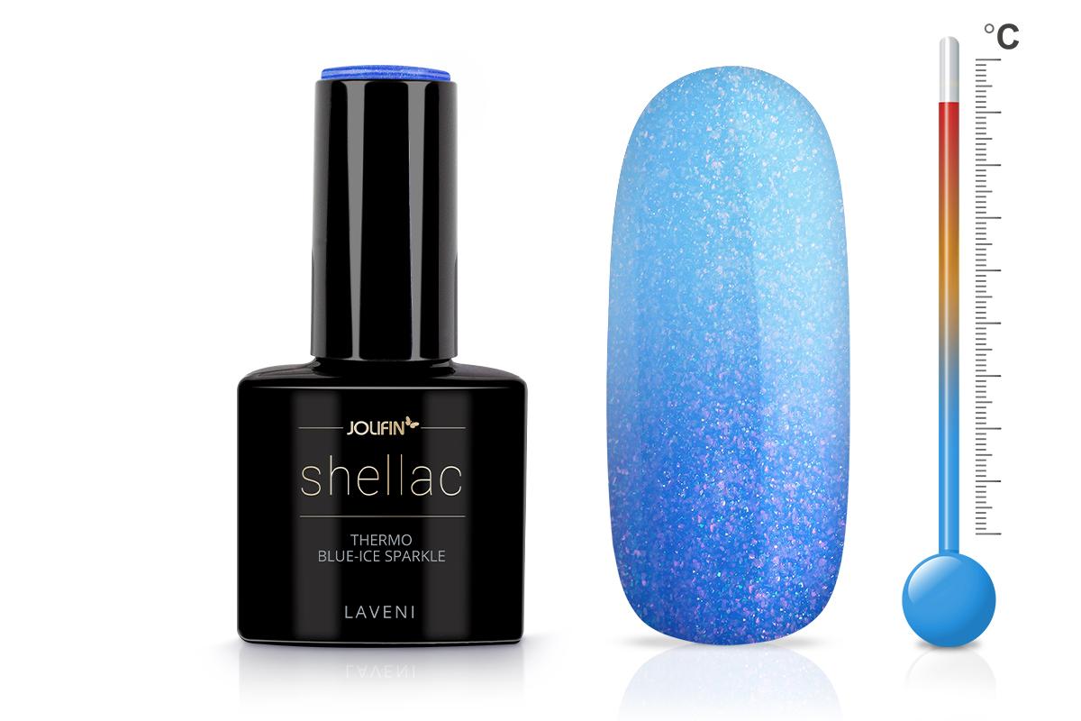 Jolifin LAVENI Shellac - Thermo blue-ice sparkle 12ml