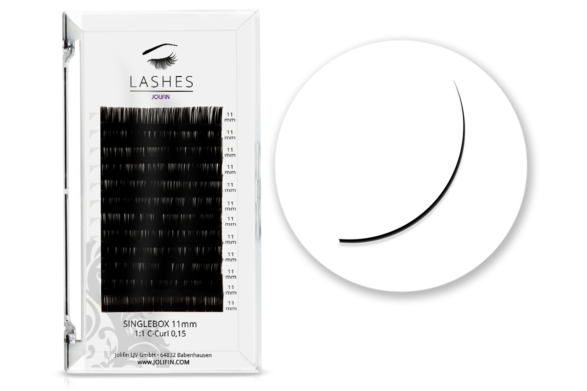 Jolifin Lashes - SingleBox 11mm - 1:1 C-Curl 0,15