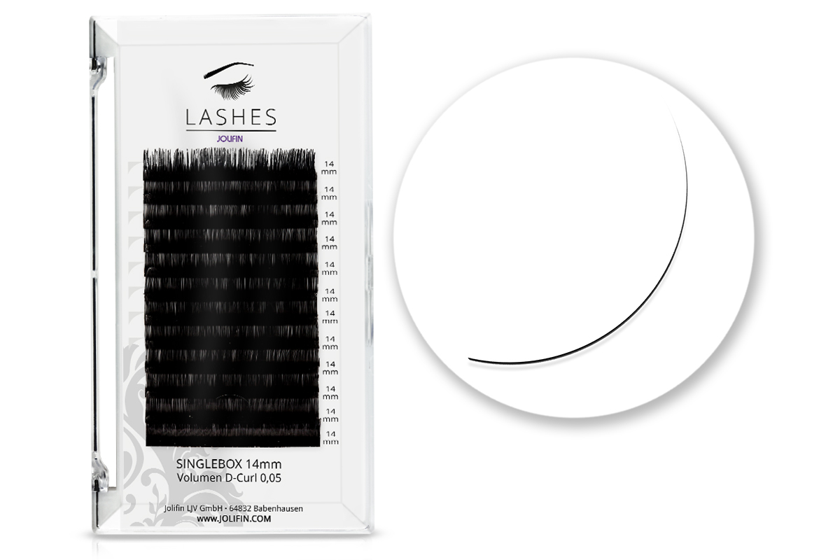 Jolifin Lashes - SingleBox 14mm - Volumen D-Curl 0,05