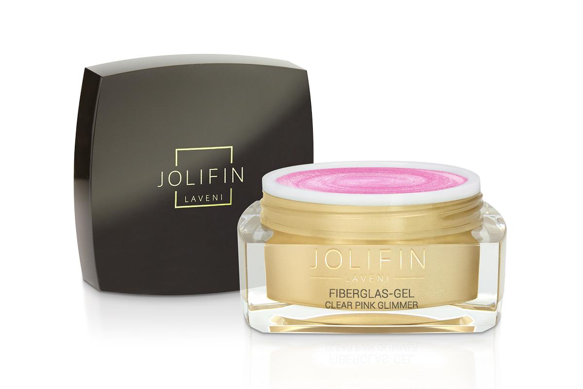 Jolifin LAVENI Fiberglas-Gel clear pink Glimmer 15ml