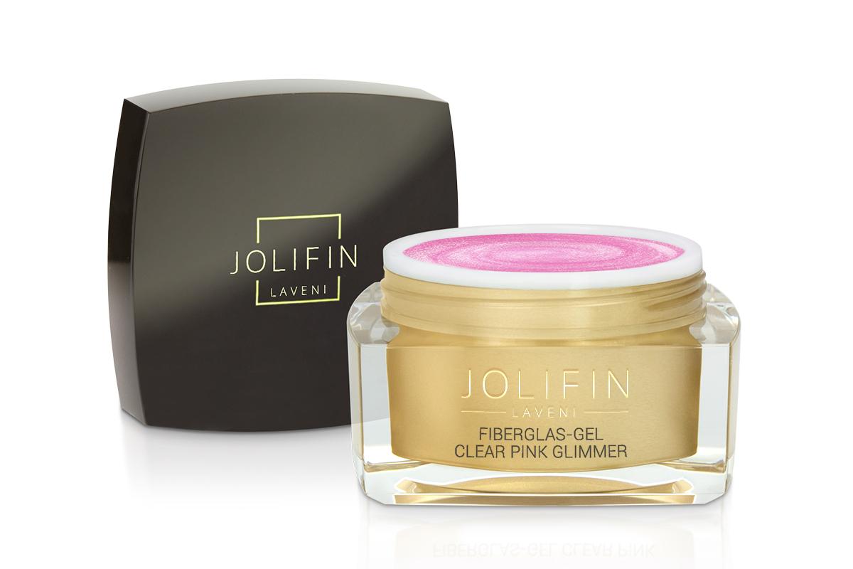 Jolifin LAVENI - Fiberglas-Gel clear pink Glimmer 30ml