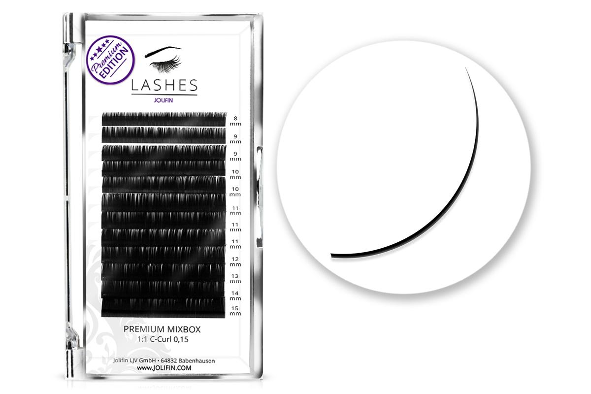 Jolifin Lashes - Premium MixBox - 1:1 C-Curl 0,15