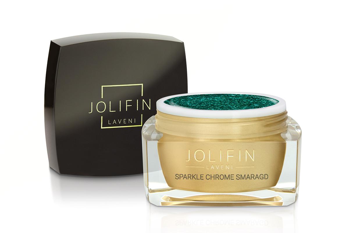 Jolifin LAVENI Farbgel - sparkle chrome smaragd 5ml