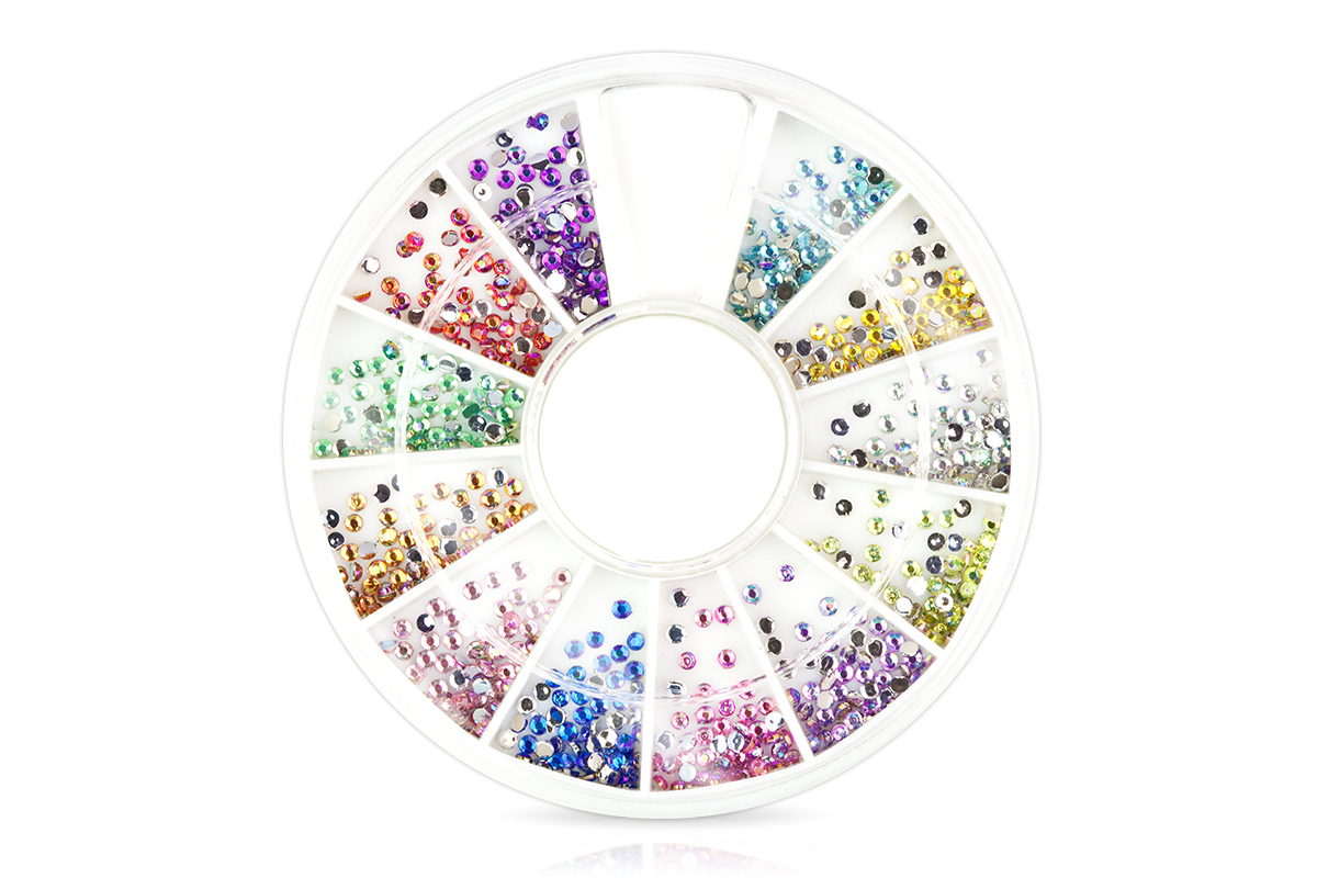 Strass-Display rund pastellfarben irisierend