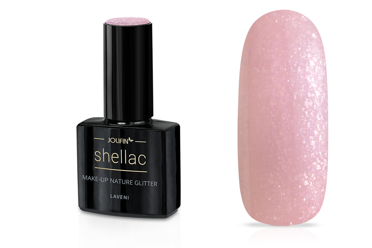 Jolifin LAVENI Shellac - make-up nature  Glitter 12ml