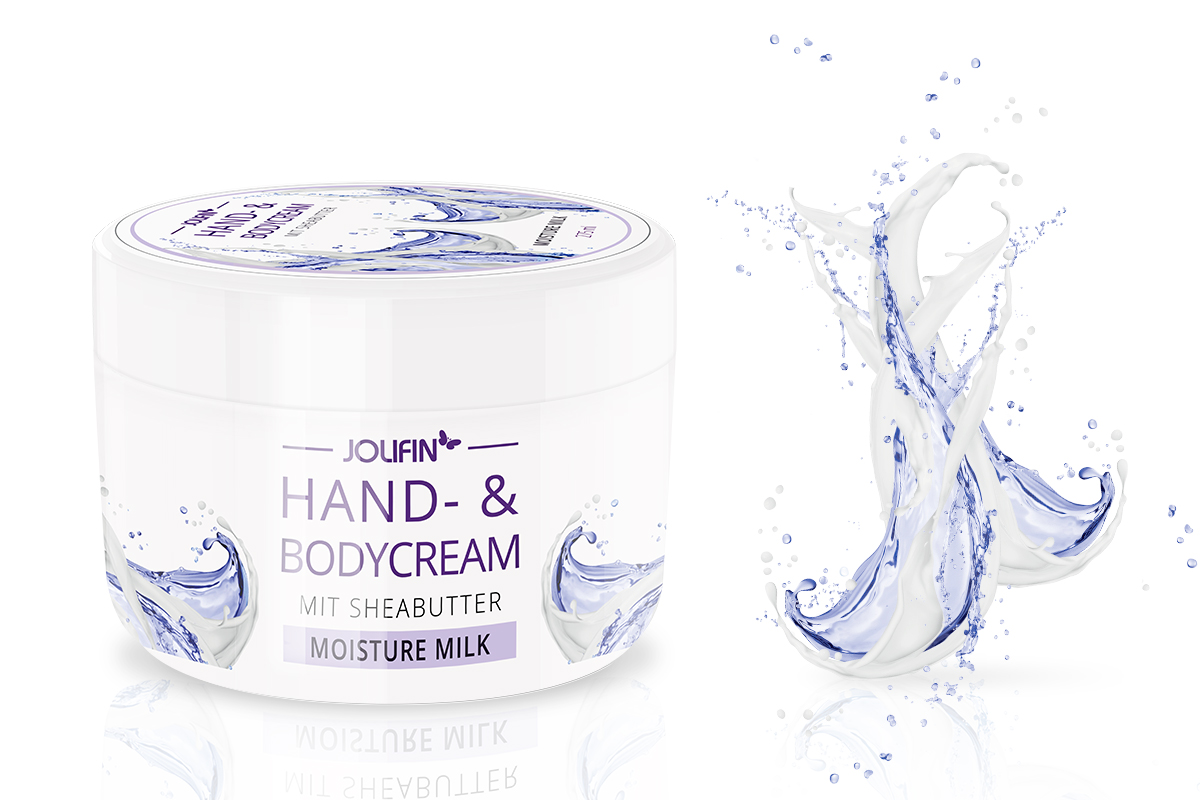 Jolifin Hand- & Bodycream mit Sheabutter - moisture milk 275ml