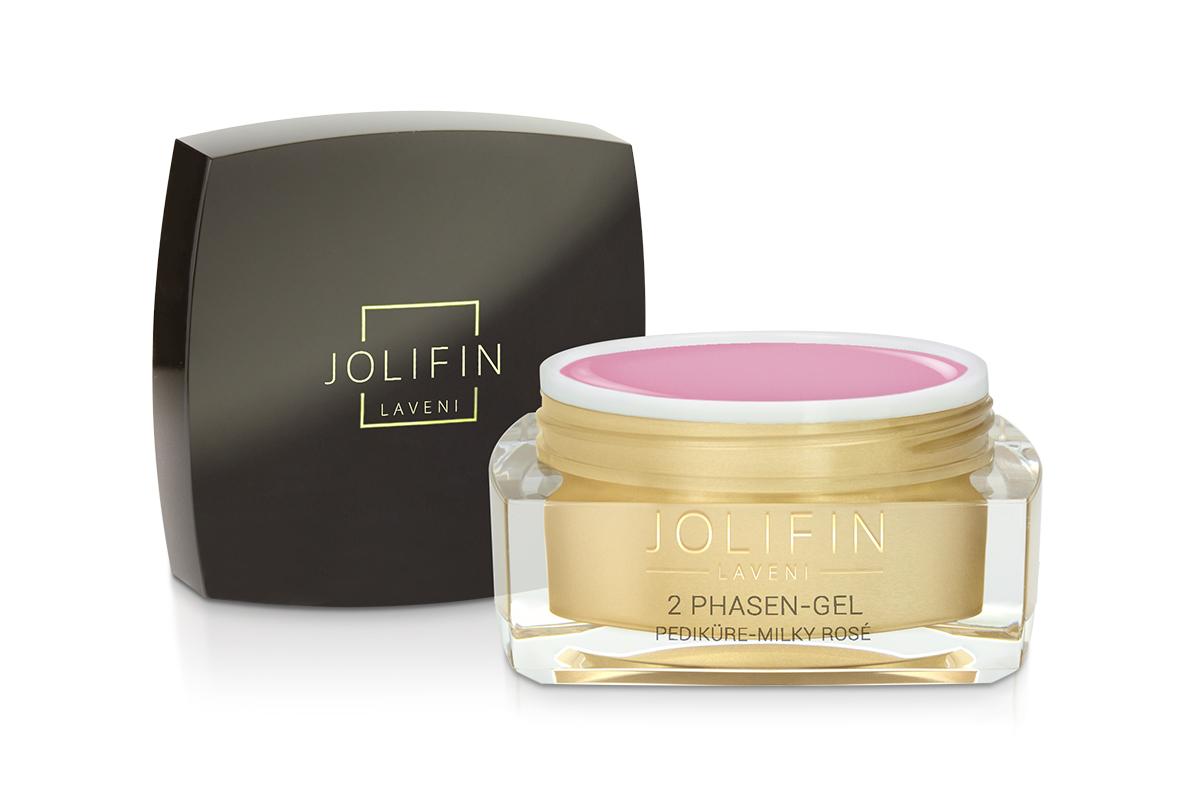 Jolifin LAVENI 2 Phasen-Gel Pediküre - milky rosé 15ml