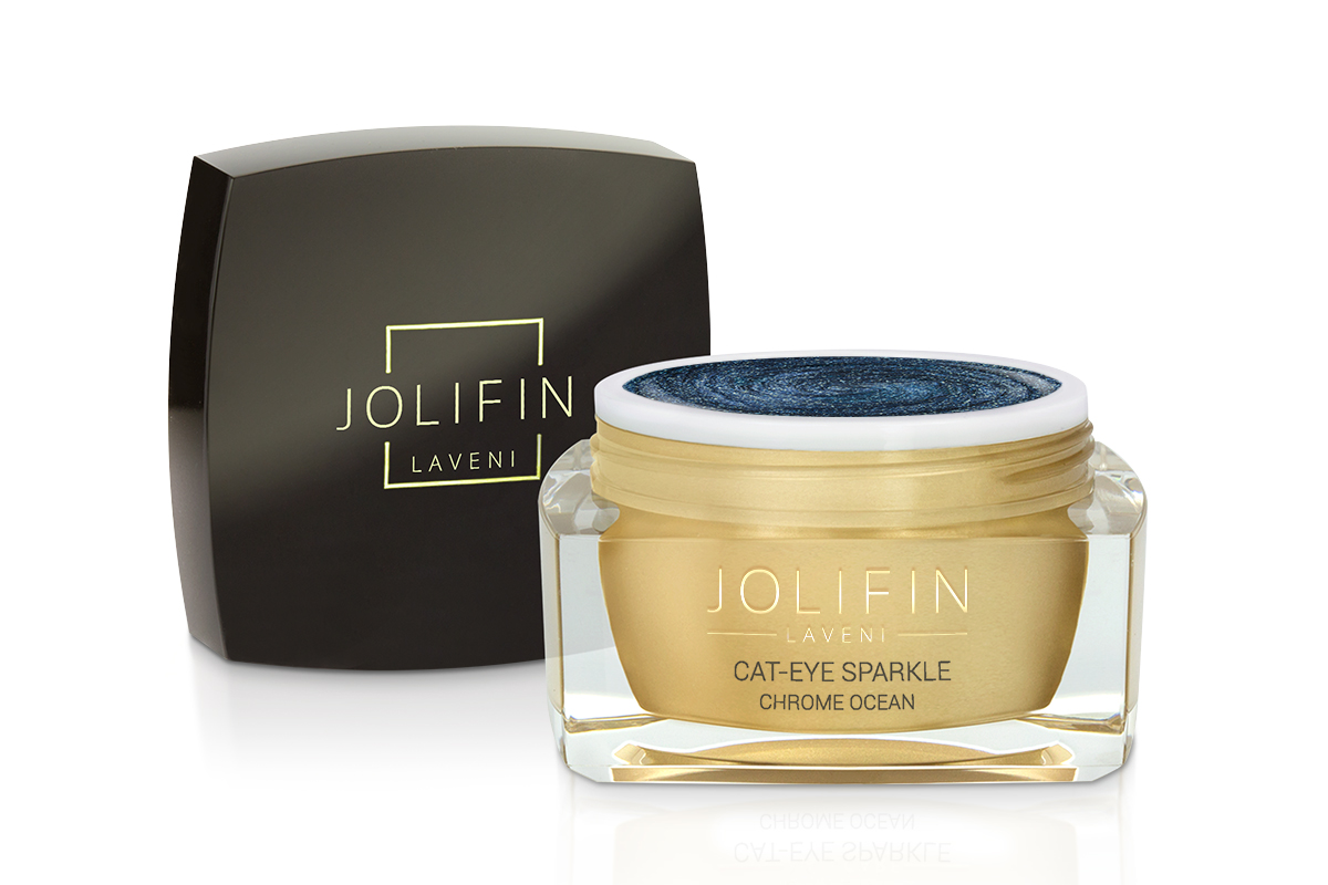 Jolifin LAVENI Farbgel - Cat-Eye sparkle chrome ocean 5ml