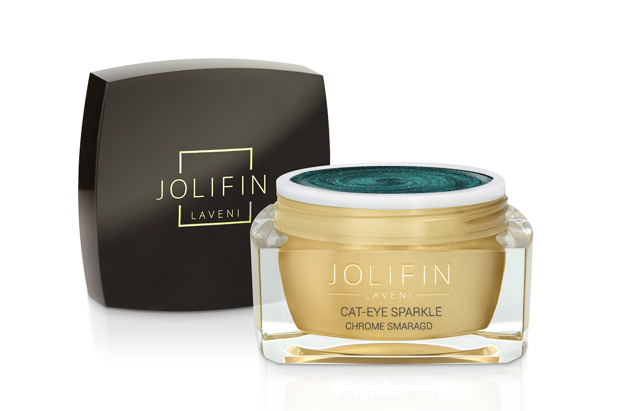 Jolifin LAVENI Farbgel - Cat-Eye sparkle chrome smaragd 5ml