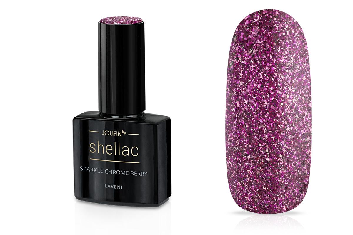Jolifin LAVENI Shellac - sparkle chrome berry 12ml