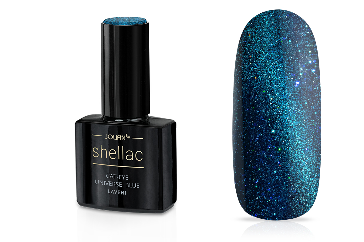 Jolifin LAVENI Shellac - Cat-Eye universe blue 12ml