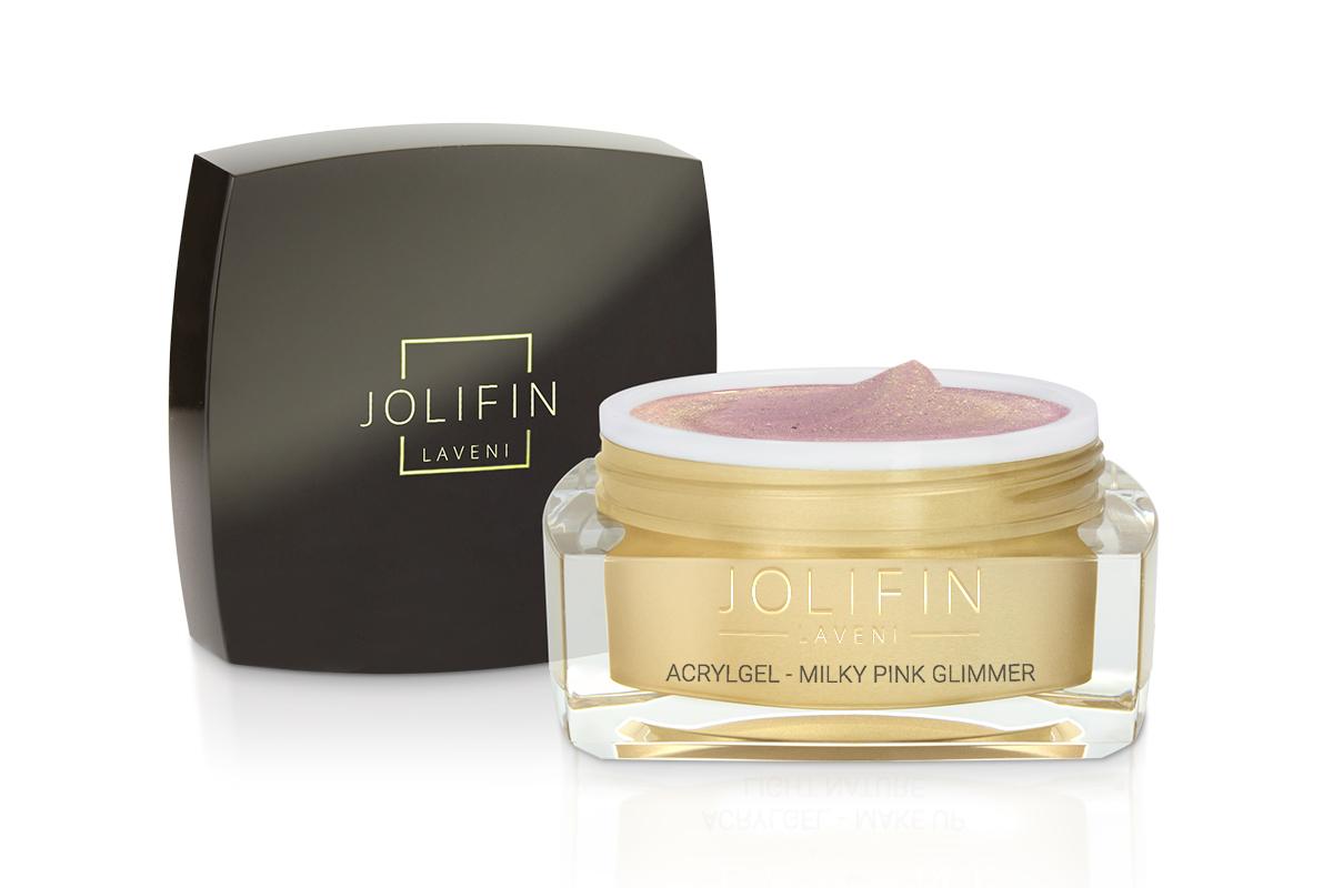 Jolifin LAVENI AcrylGel - milky pink Glimmer 15ml