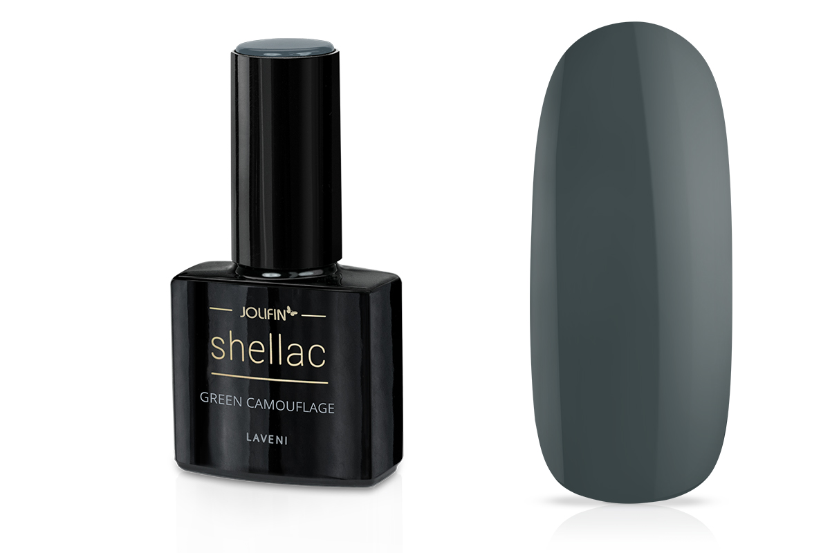 Jolifin LAVENI Shellac - green camouflage 12ml
