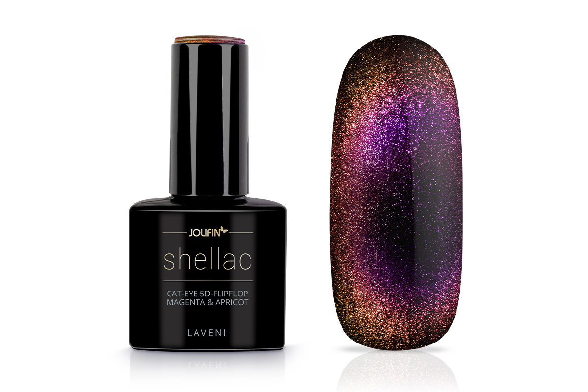 Jolifin LAVENI Shellac - Cat-Eye 5D-FlipFlop magenta & apricot 12ml