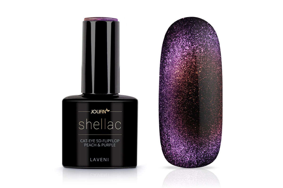 Jolifin LAVENI Shellac - Cat-Eye 5D FlipFlop peach & purple 12ml