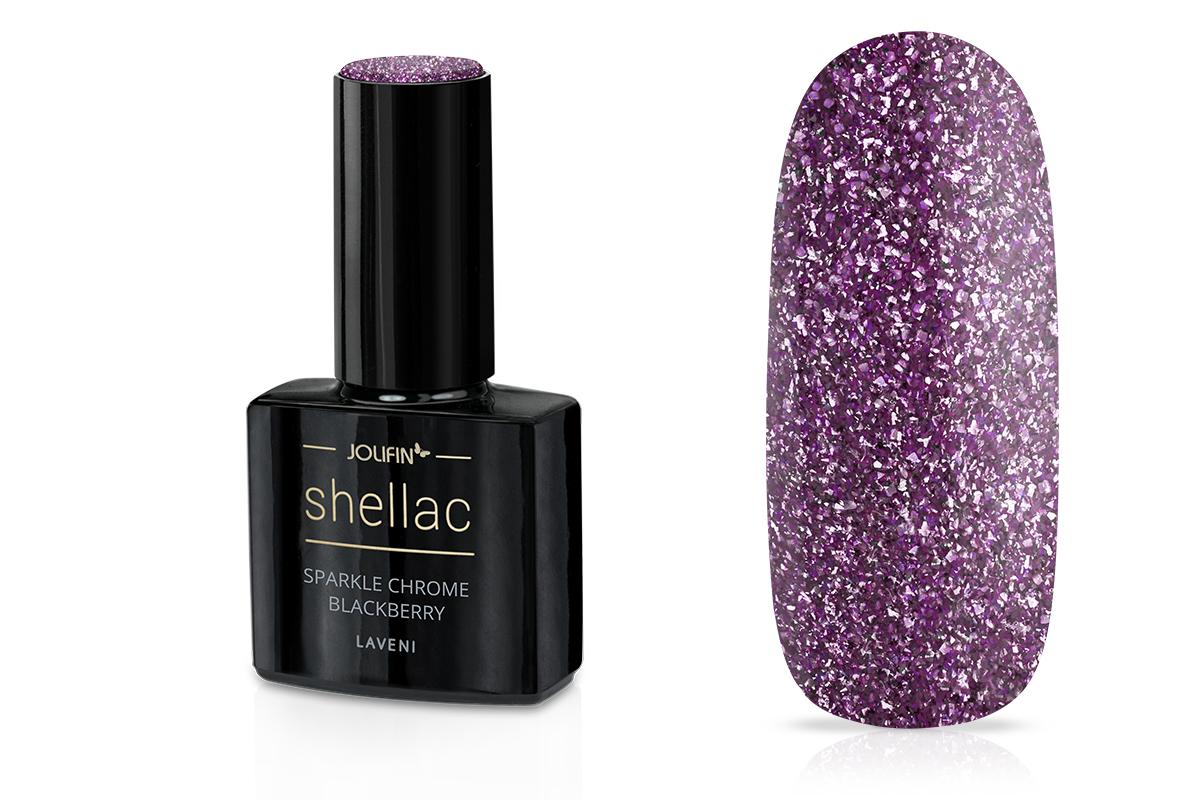 Jolifin LAVENI Shellac - sparkle chrome blackberry 12ml
