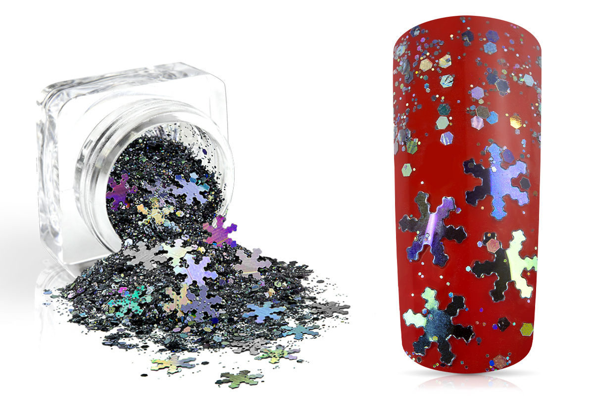 Jolifin Snowflake Glitter - black