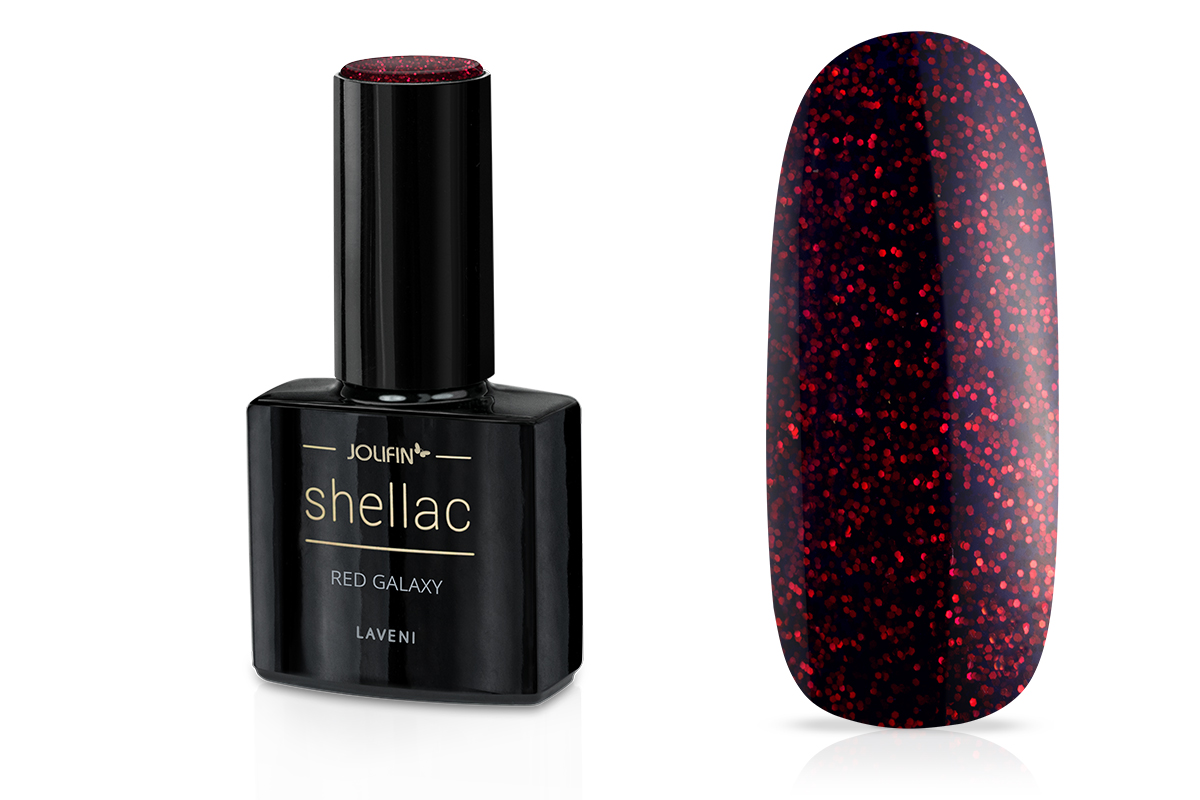 Jolifin LAVENI Shellac - red galaxy 12ml