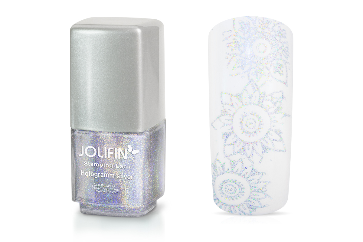 Jolifin Stamping-Lack - hologramm silver 12ml