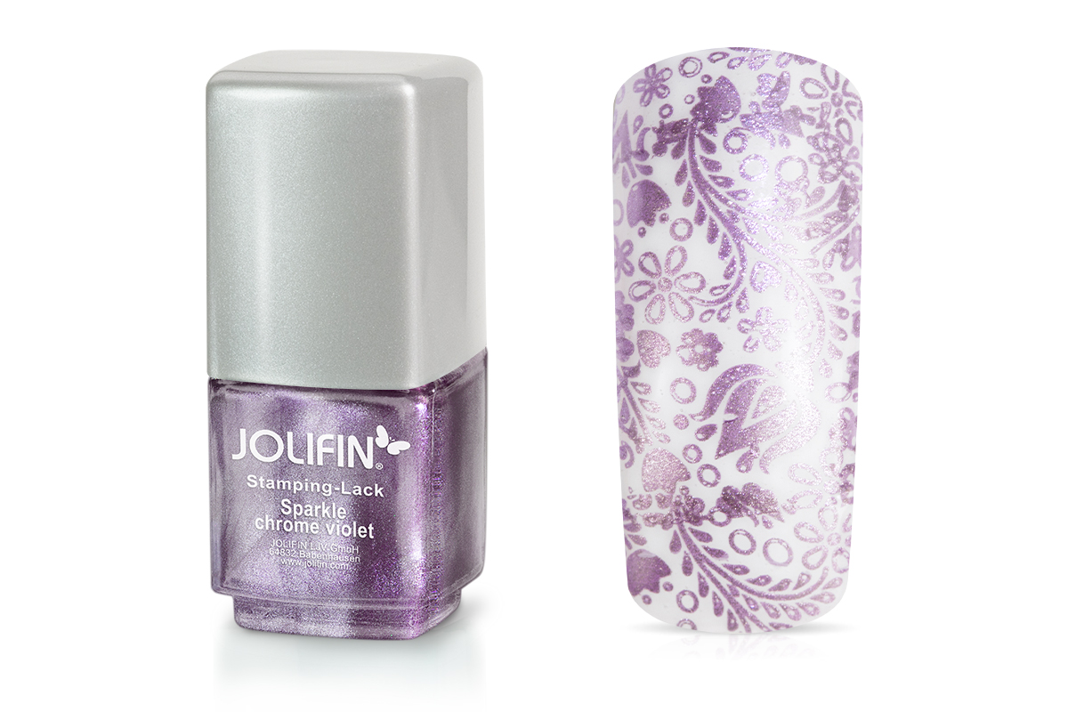 Jolifin Stamping-Lack - sparkle chrome violet 12ml