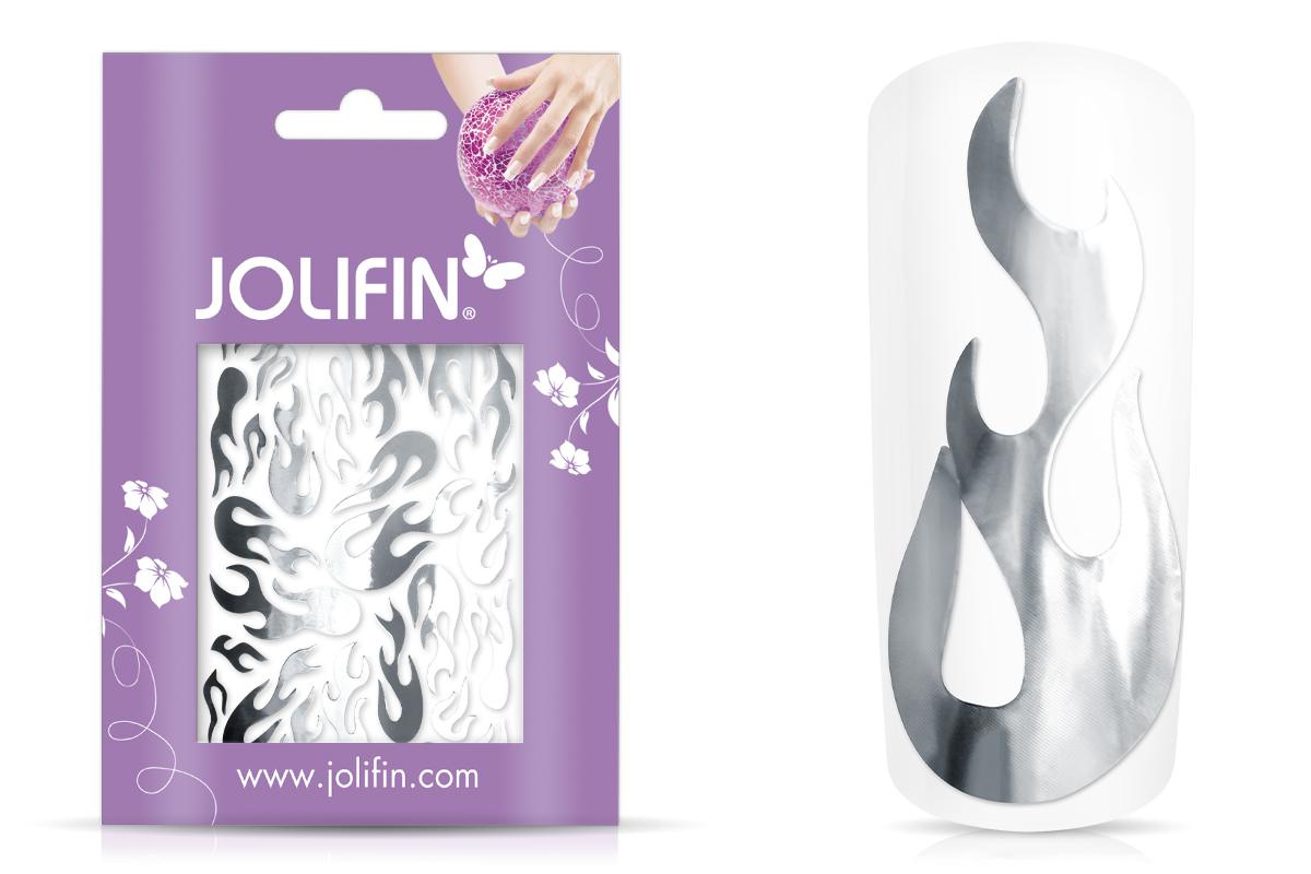 Jolifin Aurora Sticker - Flame silver chrome