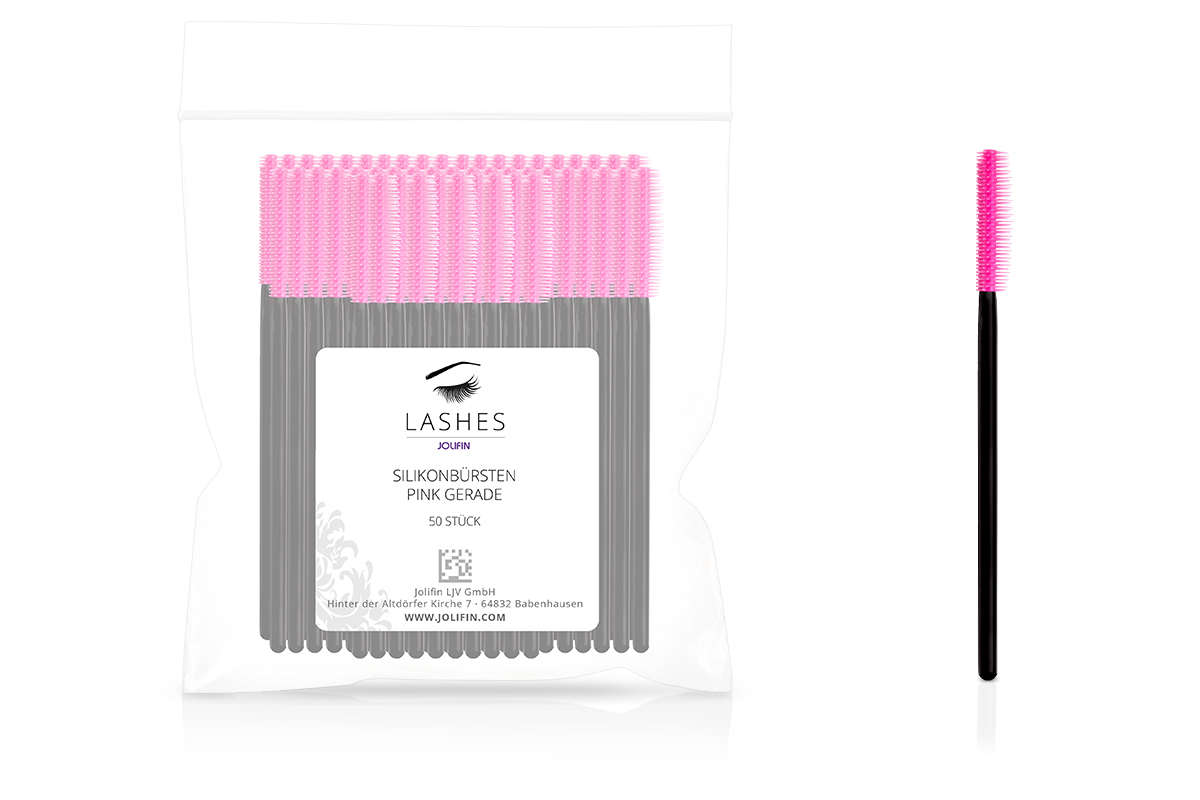 Jolifin Lashes - Silikonbürsten pink gerade - 50 Stück